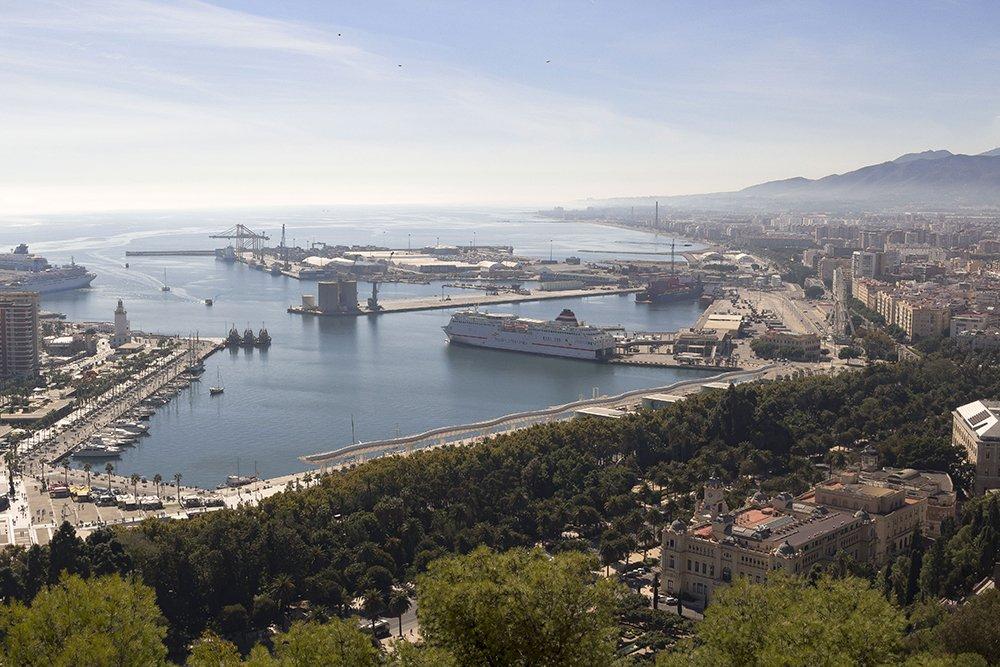 Malaga parks and sea