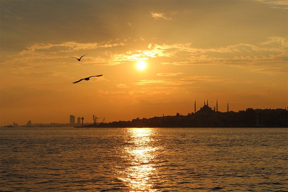 Один день на Бююкада, Принцевы острова, Стамбул   Закат над Стамбулом