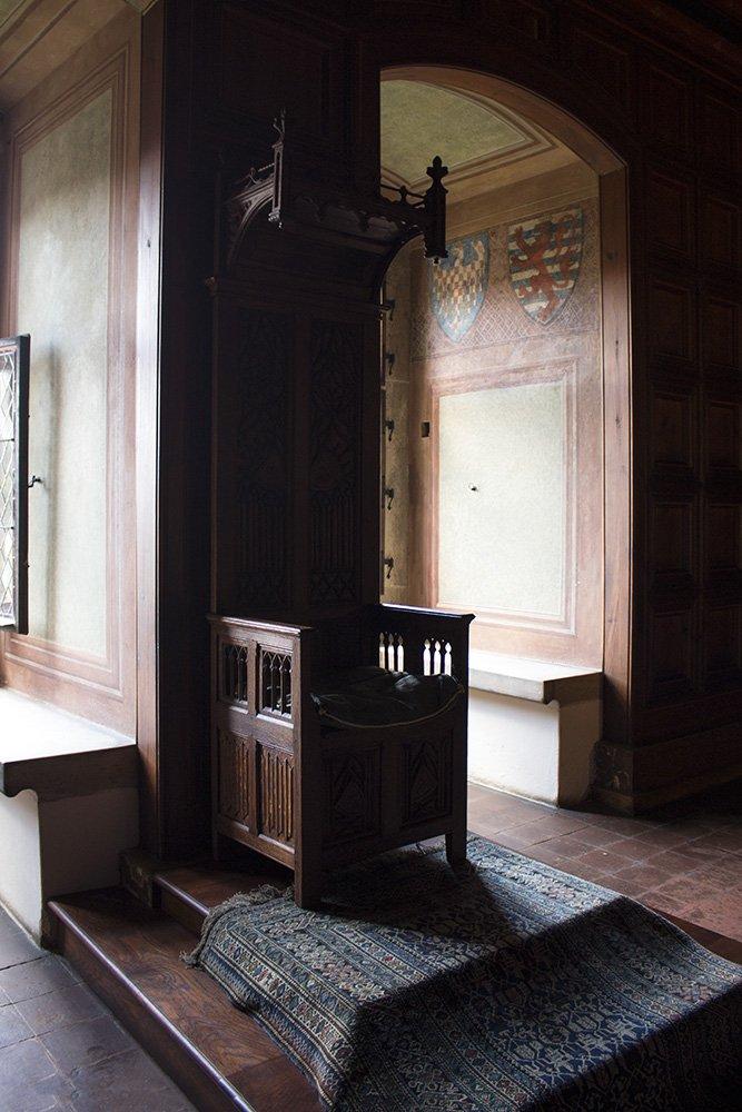 From Prague to Karlstejn Castle, Czech Republic   King's chair in Karlstejn Castle