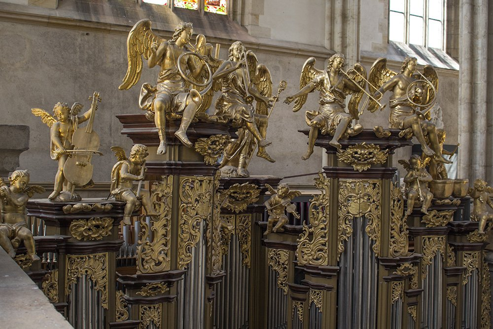 Kutna Hora on a day trip from Prague: things to do | Statues on the organ in St Barbara Church