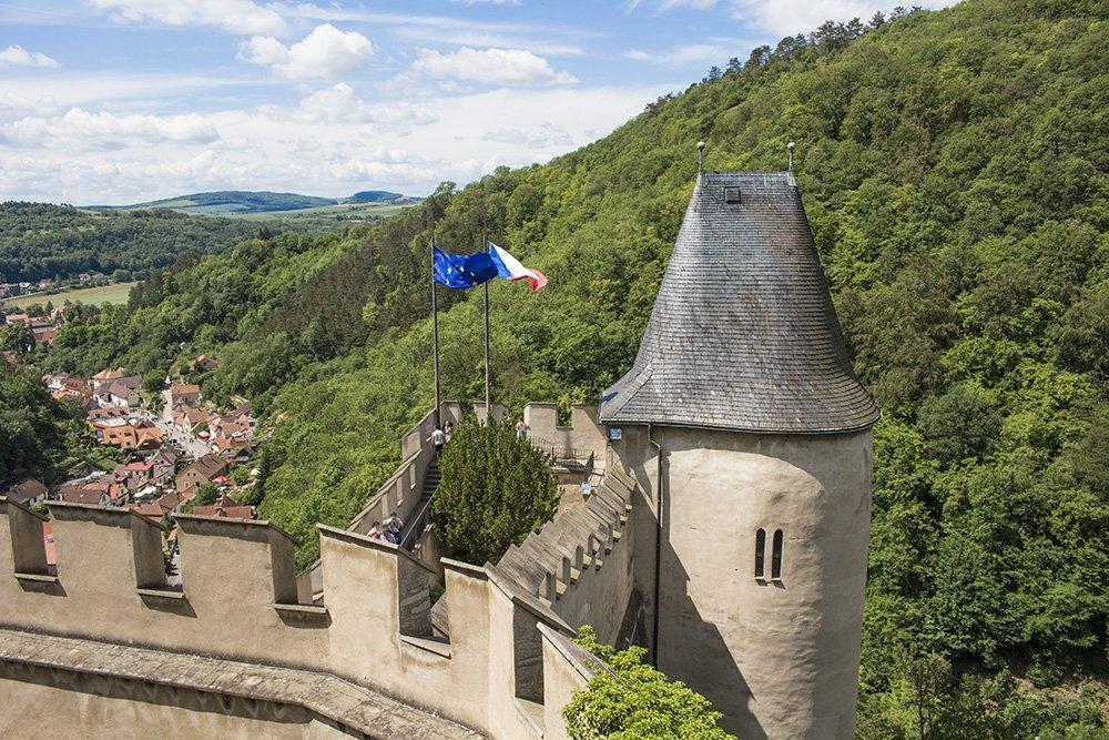From Prague to Karlstejn Castle, Czech Republic   View from the walls of Karlstejn Castle