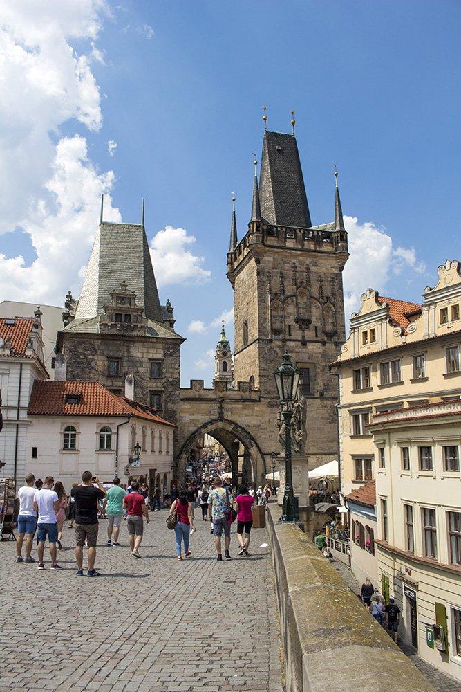 A tower of Charles Bridge in Prague
