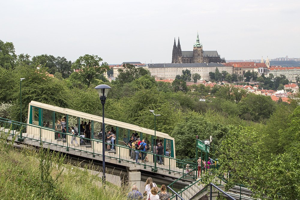 Funicular train to Petrin Hill in Prague