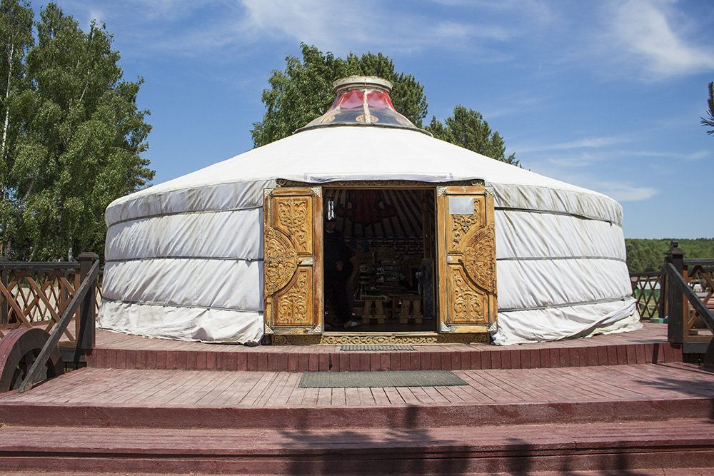 A yurt with souvenirs inside in the Buryat section