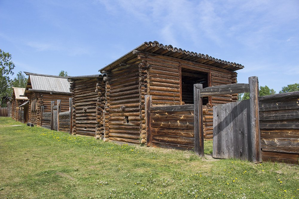Wooden houses in Taltsy Museum