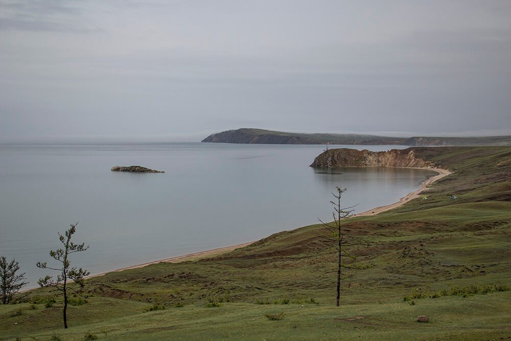 Crocodile Island and the beach at Kharantsy Cape in Olkhon Island