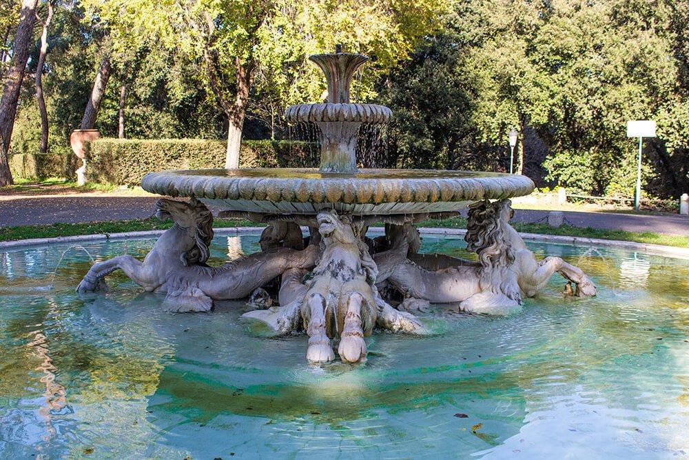 A fountain in Villa Borghese in Rome, Italy