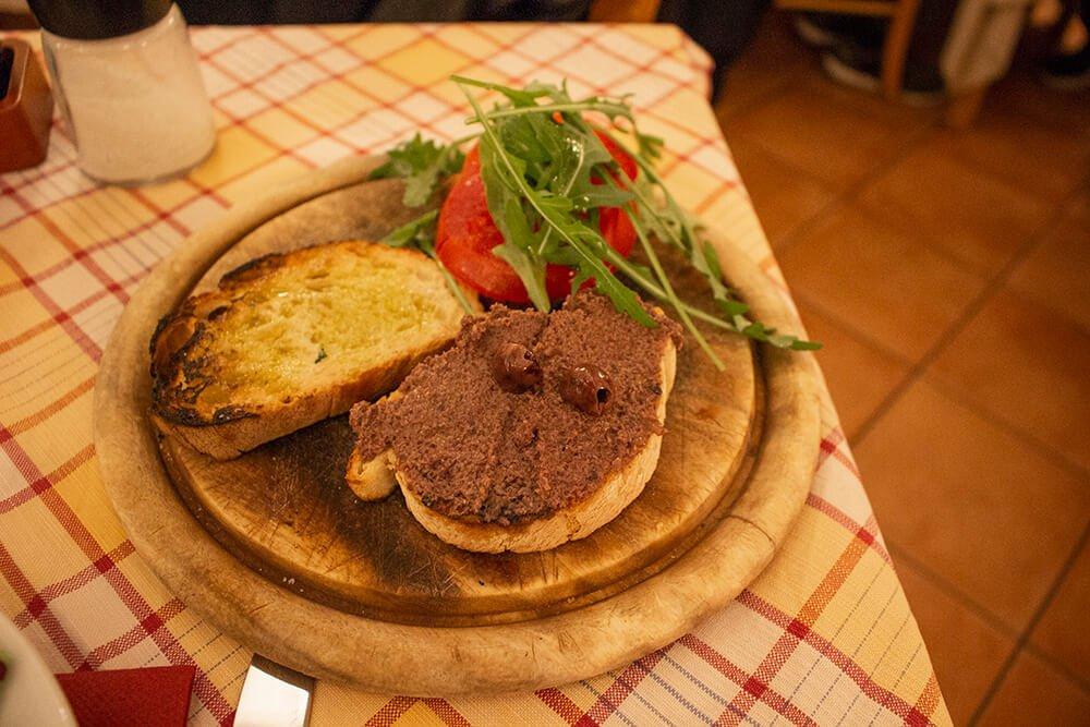 Bruschettas in Taverna del Seminario in Rome, Italy
