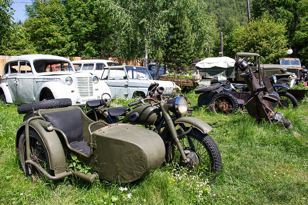Old cars and motorcycles in the Retro Museum in Listvyanka